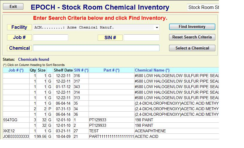 View Stock Room Inventory via the Web