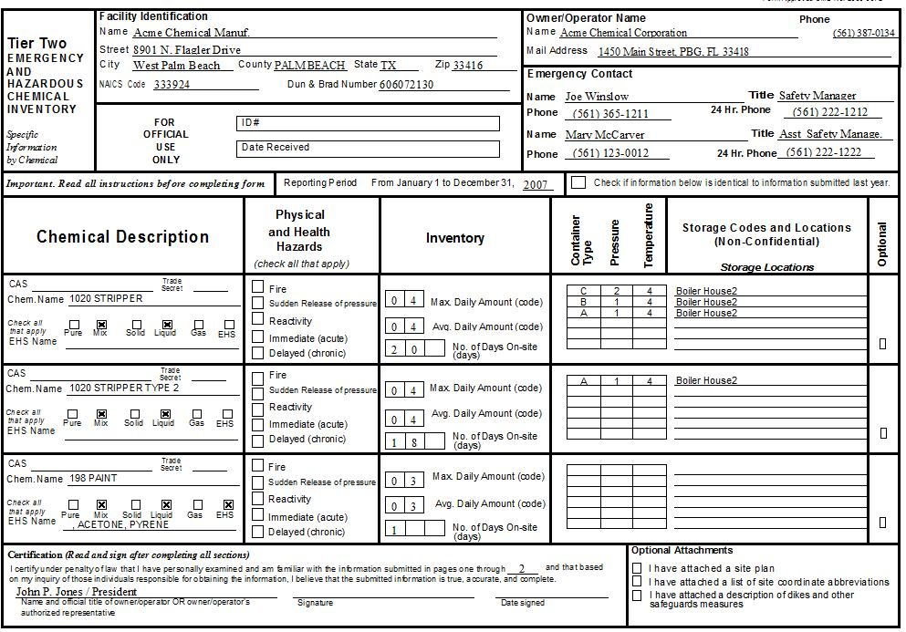 Federal Tier II Form